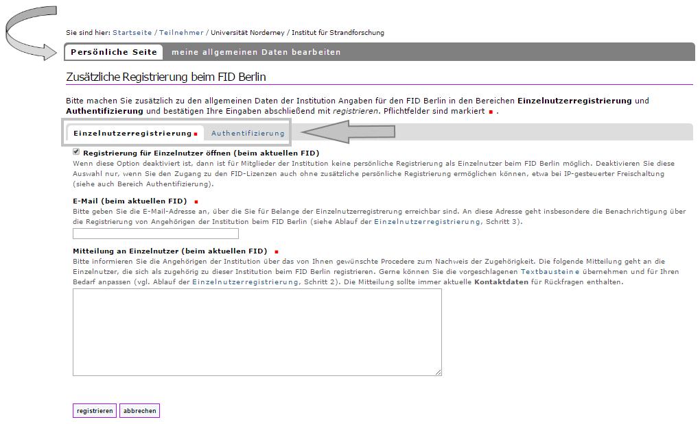 Institution - Registrierung bei weiterem FID 3